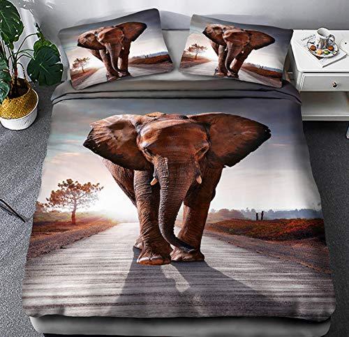 Juego De Funda Nórdica De 3 Piezas (1 Funda Nórdica + 2 Fundas De Almohada), Juego De Ropa De Cama Cierre De Cremallera Suave Microfibra Poliéster Animal Elefante 225 X 225 Cm A5