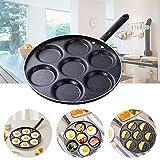 Padella 7 fori Padella Resistente all'usura Resistente al calore Uovo Pancake Bistecca Cottura Uovo Padelle Colazione Maker Cucina
