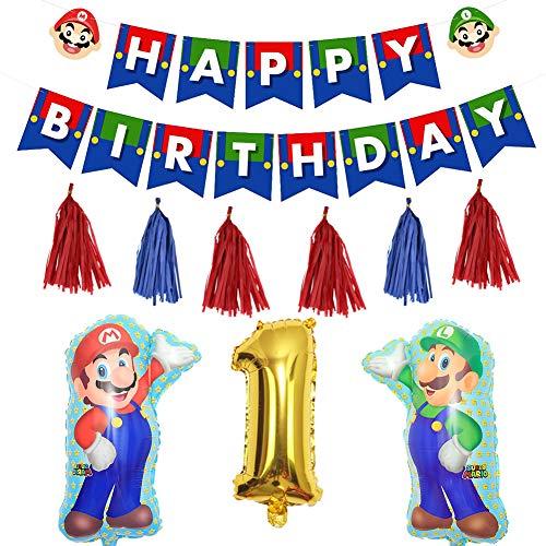 Fun+ スーパーマリオ 誕生日 飾り付けセット かわいいキャラクター HAPPYBIRTHDAYガーランド 数字バルーン タッセルガーランド マリオ風船 1歳誕生日 子供