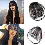 Soraka Hair Clip in Air Bangs Human Hair Bangs Clip on Real Hair Flat Bangs with Temples Hand Made Mini Air Bangs (Natural)
