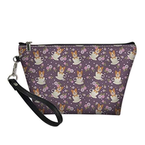 HUGS IDEA Corgi Cup Flowers Handle Toiletry Bag Teen Girl Hipster Cosmetic Pouch Makeup Storage Bag