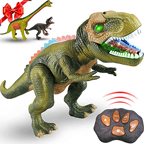 TEEMEE Remote Control Walking Dinosaur Toys for Kid, Tyrannosaurus Robot Toys with Roaring & LED Lights, Kids' Electronics RC Dinosaur Toys, Dinosaur World T-Rex, Green