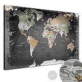 LANA KK Leinwandbild - Weltkarte Graphit - in 120 x 80 cm,