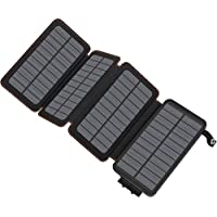 Hiluckey 25000mAh Portable Power Bank with 4 Panel Solar Charger