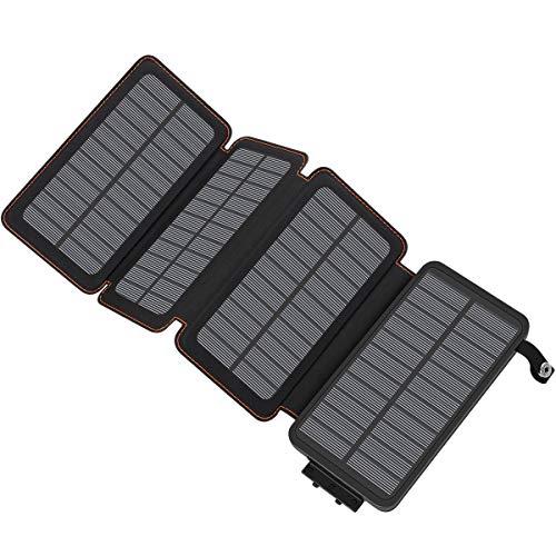 ADDTOP Solar Powerbank 25000mAh wasserdichte Solar Ladegerät mit 4 Solarpanel Tragbare Externer Akku mit Dual Input Ladeport für iPhone XS Max/XR/XS/X / 8/8 Plus, iPad, Samsung Galaxy und viele mehr