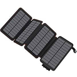 Solar Charger 25000mAh, Hiluckey Portable Power Bank with Dual USB Ports Waterproof Battery Charger for Smartphones and Tablets 6 <p>25000mAh High Capacity: Built-in high-quality 25000mAh lithium polymer battery pack, With solar charging function, you don't need to worry about running out of power, It can fully charge your iPhone, Samsung for 10+ times; iPad, Kindle for 4+ times. 4 Times Solar Energy Conversion: With 4 foldable highly efficient solar panels converted solar power into battery energy fastly, it charges by solar with 5W power and 1A input current, which is 4 - 6 times faster than the other solar chargers which only has single panel. 2.1A Dual USB Ports: Dual USB ports offer 2.1A high speed charging and enable you to charge 2 devices simultaneously, Compatible with all phone models. Intelligently detects and matches the output current to protect it from over-current, over-voltage, over-heated and short circuit via built-in IC chip.</p>