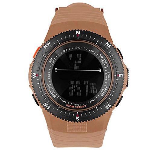 Taffstyle Herren Sportuhr Armbanduhr Silikon Sport Watch mit Licht Alarm Stoppfunktion Farbige Digital Quarz Uhr Coffee