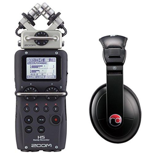 Zoom H5 Four-Track Portable Recorder w/Resident Audio R100 Headphones - Bundle