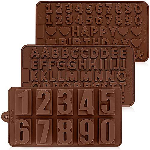 MZSM 3 Piezas Letras del Alfabeto moldes de Silicona, Molde de Chocolate del Alfabeto de símbolos de Feliz cumpleaños, Utilizada para Chocolate, Dulces, Gelatina, Hornear decoración para Pasteles