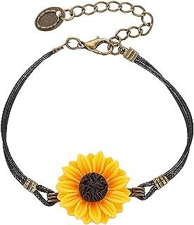 بوهو عباد الشمس سوار خمر اليدوية نسج حبل ليتل ديزي أساور مجوهرات للنساء في سن المراهقة بنات زوجين أفضل الأصدقاء