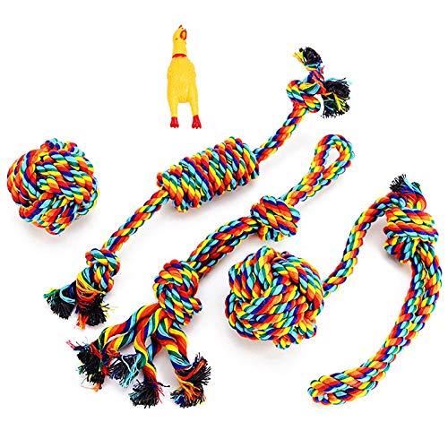 VIEWLON Hundespielzeug Seil,Tau Hund Spielzeug,Hund Seil Spielzeug Set,Interaktives Kauspielzeug Spielzeug,Vorteilhaft für die Zahnreinigung des Hundes,für Welpe Kleine/Mittlere Hunde