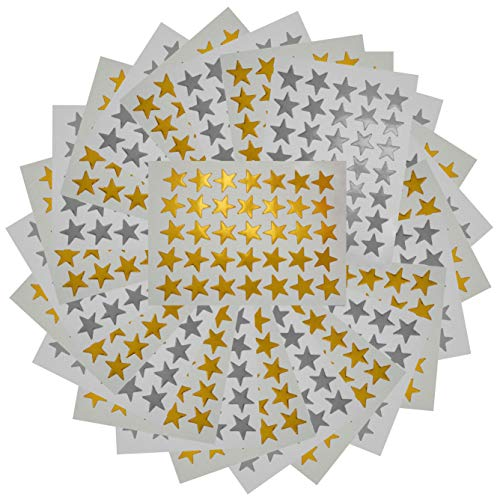3500 Count Star Stickers for Paper Notebook, Journal Gold Silver Self-Adhesive Foil Star Labels 100 Sheets
