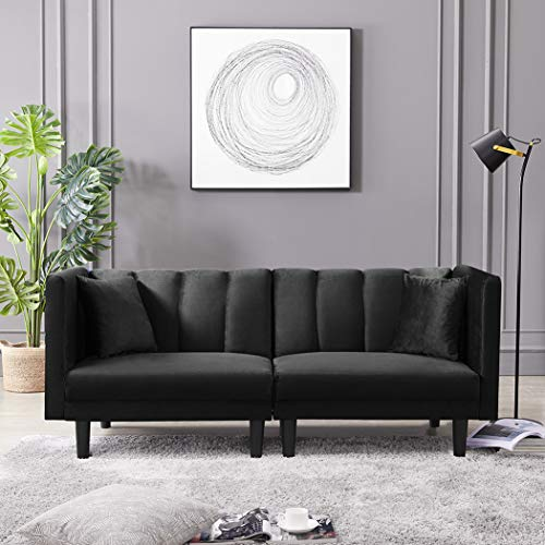 Velvet Futon Sofa Bed with Two Pillows, Modern Sleeper Sofa Couch with 3 Adjustable Angles, Convertible Small Loveseat for Living Room, Black