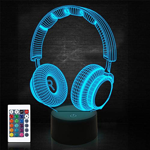 Headset Creative 3D Night Light, 16 Color Changing with Remote Control USB Power, Game Headphone Optical Illusion Lamp Unique Room Decor for Teen Boy Men
