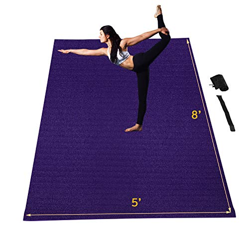Wesfital Large Workout Mat High Density Thick Exercise Mat 8'x5'(96'x 60') x7mm Gym Flooring Cardio Mat Anti-Tear Non-Slip with Carrying Bag & Straps