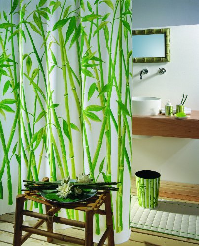 "Spirella Anti-Schimmel Duschvorhang 10.42057 - Anti-Bakteriell, waschbar, wasserdicht - Polyester, ""Bambus"" 180x200cm"