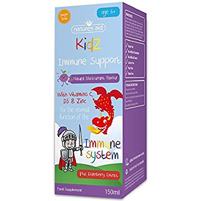 Natures Aid Immune Support Formula for Children (150 ml, Blackcurrant Flavour, Vitamin C, D3, Zinc and Elderberry, Sugar Free, Vegan Society Approved, Made in the UK) from Natures Aid