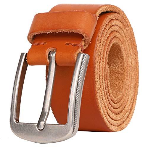 Leathario Ledergürtel Herren Braun aus italienischem Rindsleder, 38 mm Breit, verstellbarer und starker Jeansgürtel, Anzuggürtel