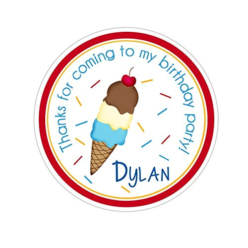 Yilooom Ice Cream Stickers, Ice Cream Birthday Party, Ice Cream Party Stickers, Personalized Birthday Party Favor Thank You Stickers, 4 inch in Width - 2 Pcs