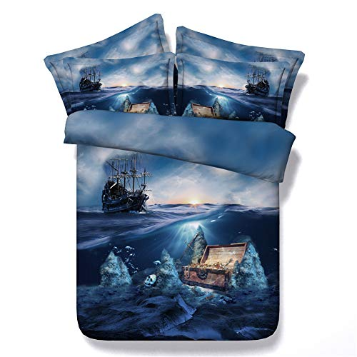JF-436 Grand blue ocean with pirates elements printed bed set 3pcs skull treasure box print bedding sheets contains 1 blanket cover 2 shams full queen king size (Queen)