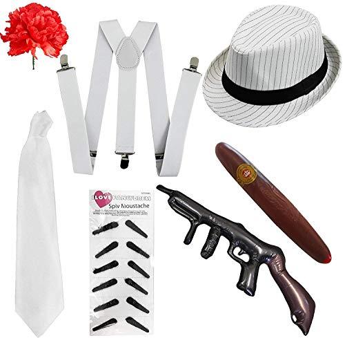 ILOVEFANCYDRESS Kit Costume al Capone da 7 Pezzi per Adulto Kit Accessori Costume Gangster Anni '1920 - Set GESSATO Bianco - Perfetto per Costumi Gangster (Taglia Unica)