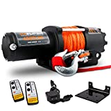 ZESUPER 4500-lb Waterproof Winch Electric Winch Kit, Synthetic Rope Waterproof IP67 Electric Winch with Hawse Fairlead, with Both Wireless Handheld Remote and Corded Control Recovery