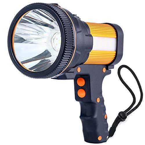 ALFLASH Linterna LED para linterna recargable de alta potencia 7000 lúmenes linterna LED para portátil súper brillante impermeable IPX4 Proyector LED portátil 9000 mAh, dorado