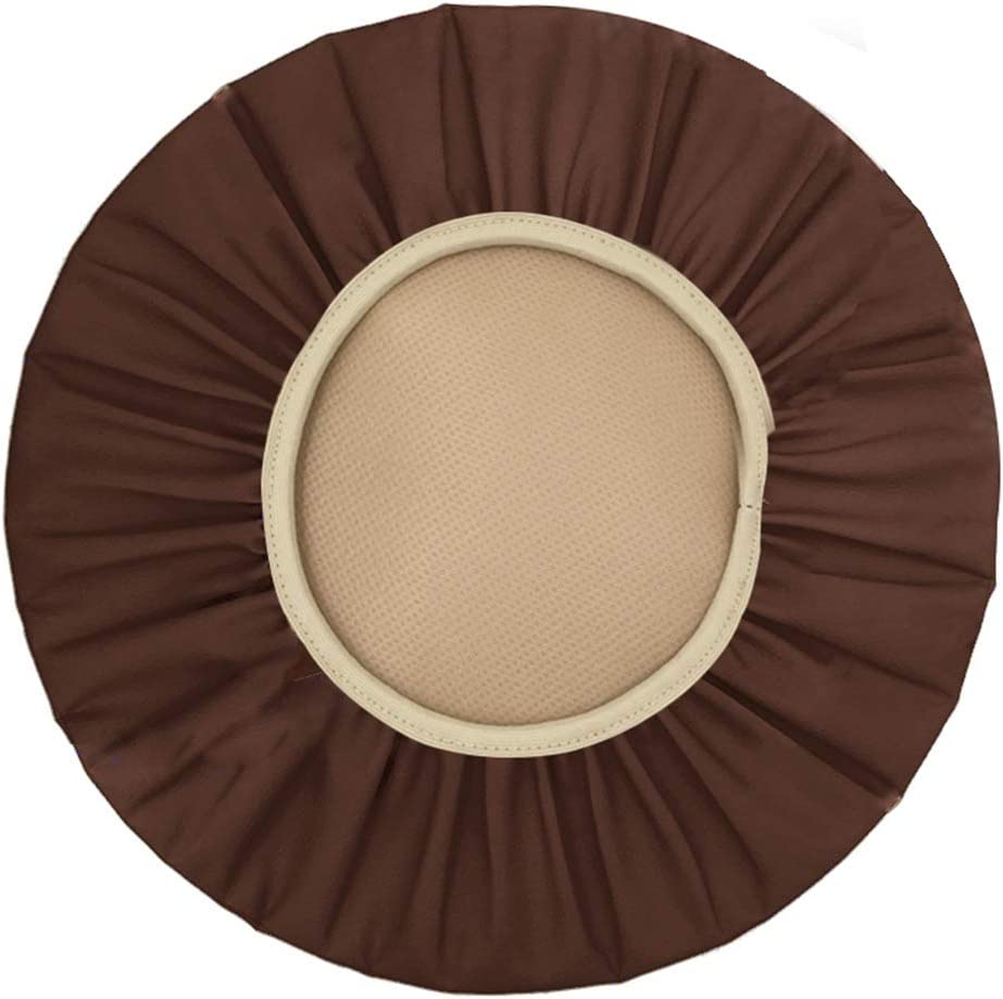 Augld Round Bar Stool Cover Watedrproof Faux Leather Stool Slipcover 16.5 Inch Coffee