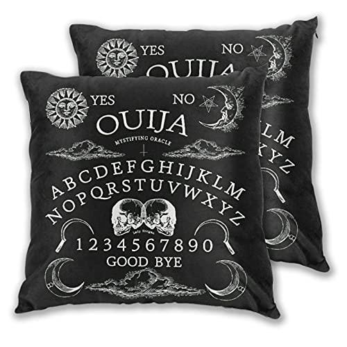 LONSANT Juego de 2 Fundas de Cojín,Fondo Demon Ouija,Decorativa Cuadrado Suave Funda de Almohada Sofá Sillas Cama Decoración para Hogar 40x40cm