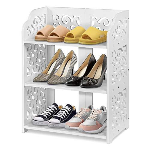 Small White Bookcase, 3 Tiers White Shoe Rack Floor Standing Shoe Rack Cabinet Display Rack Storage Unit Bathroom Organiser Shelf Small Shoes Storage for Bedroom Hallway Entryway, 40 × 23 × 51 cm
