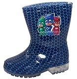 PJ MASKS Boys Light Up Wellington Boots Blue Hexes 6 UK Child