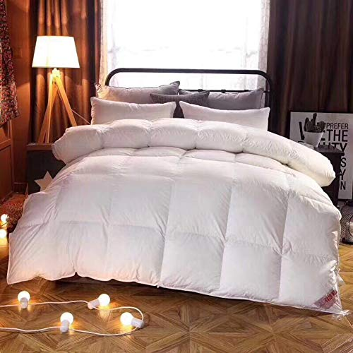 JZH-Bed Edredón De Plumón 100% Algodón - 95% Pluma Ganso Blanco Delicado Silencioso Limpieza Natural con Apertura De Reconocimiento,200x230cm
