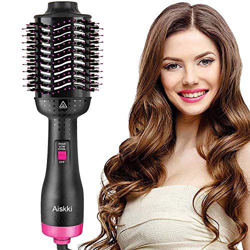 Price comparison product image Aiskki 5 in 1 Hair Dryer One-Step Hot Air Brush Comb Styler&Volumizer Multifunctional Air Blower Hair Curler Salon Frizz Control Anti-Scald Hair Straightener (Rose and Black)