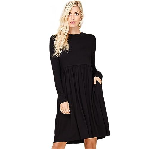 8754d464d8b Annabelle Women s Long Sleeve Pleated Babydoll Midi Dress with Pockets