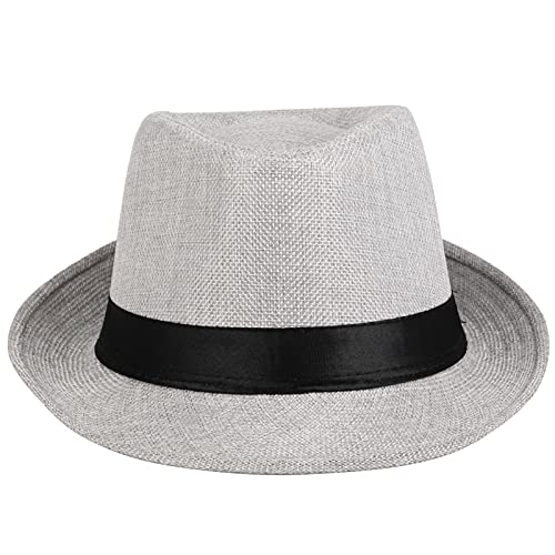 KYEYGWO Chapeau Fedora en feutre pour homme et femme, large bord style vintage - Blanc - Taille Unique