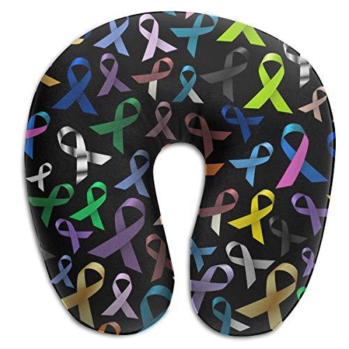 Regalo ideal Conciencia del cáncer Almohada para el cuello de la cinta Cómoda y suave en forma de U Almohada cervical Soporte para la cabeza para la oficina de viajes Coche para dormir y fácil limpiez