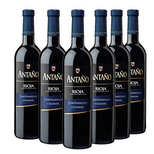 Antaño Vino Tinto D.O Rioja - Pack de 6 Botellas x 750 ml