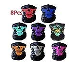 WolinTek 8 Piezas de Máscara de Calavera Mascarilla Fantasma de Medio Cráneo de Motocicleta,Pasamontañas de Calavera Máscara Facial de Tubo de Motocicleta Bragas de Cabeza de Halloween
