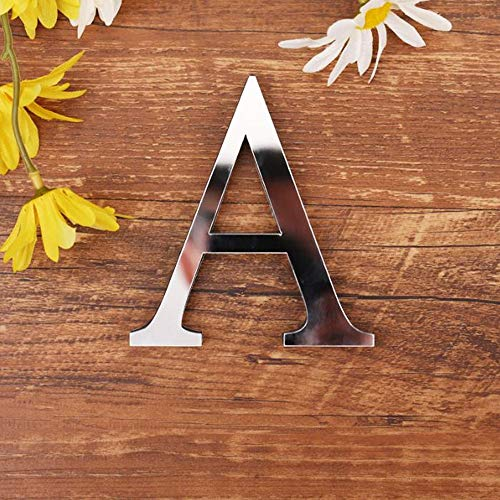 Freeas DIY Alphabet Letters,3D Acrylic Mirror Wall Stickers 26 Letters Heart & Shape Arbitrary Collocation Room Nursery Hanging Decor for Home Office Wedding Party (A)