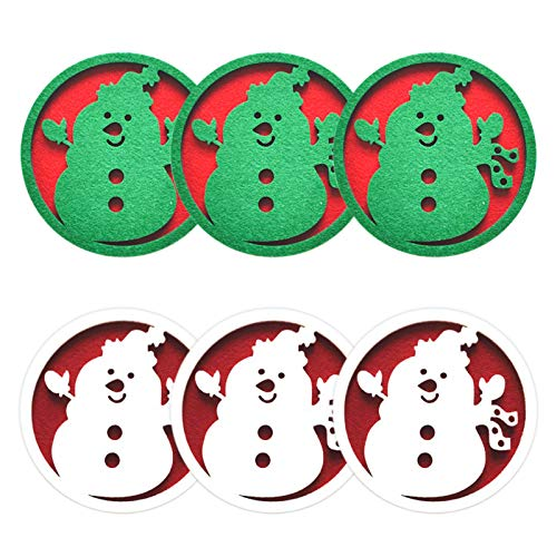 JYuanzshi - Set di 6 sottobicchieri natalizi in feltro, motivo: alce e fiocco di neve, ideali per decorazioni natalizie e per la casa