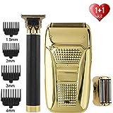 XKMY Recortadora y afeitadora de pelo para hombre+afeitadora eléctrica T9 Calviciada cortadora de pelo cortadora de pelo de peluquería sin cuerda para barba (color: set de 5)