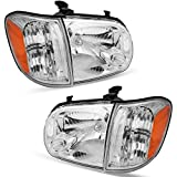 OEDRO Headlight Assembly Compatible with 2005-2006 Toyota Tundra Headlight & 2005-2007 Sequoia Headlights Amber Reflectors Chrome Housing - Driver & Passenger Side