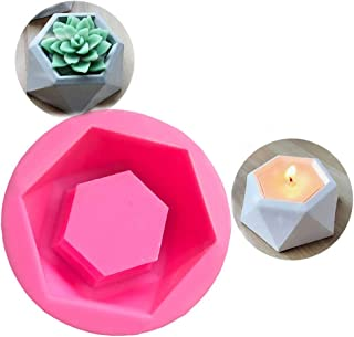 SaPeal DIY Silicone Flower Pot Mold Diamond Shaped Molds for Candle Holder Making Succulent Plants Planter Pot Mould Concr...