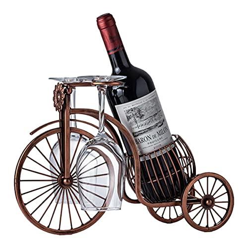 BANNESE Estante De Vino De Metal Vintage Tricicleta Pantalla Creativa Rack Botelleros Artesanía Botella Individual Soporte Vino para Mesa Cocina Decoración del Hogar