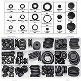Inntek Assortimento di anelli di tenuta per occhielli passacavi in gomma nera per conduttori elettrici per proteggere fili, spine e cavi (125 pezzi 18)