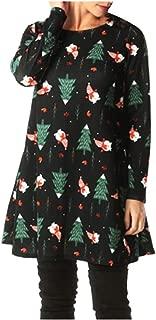 iTLOTL Christmas Snowman Print Dress Women Fashion Winter Round Neck Cute Pattern Dress