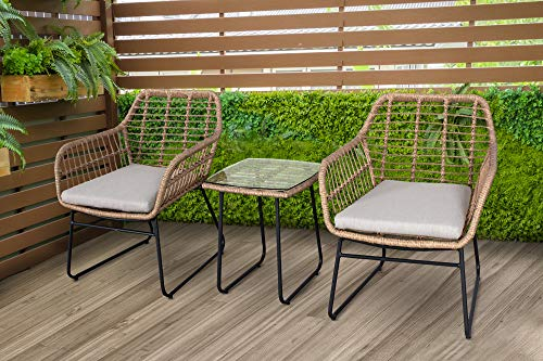Mod Mia 3-Piece Bistro Chat Set with 2 Hand-Woven Wicker Chairs, Tan/Grey
