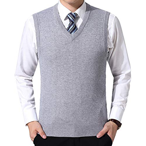 Solid Color Sweater Vest Men Cashmere Sweater Wool Pullover Men V-Neck Sleeveless Jersey Hombre Light Grey Asian Size XXL