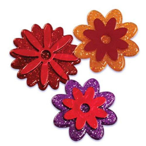 Dress My Cupcake DMC41FAL-12 12-Pack Fall Flowers Glitter Ring Decorative Cake Topper, Fall/Autumn, Assorted