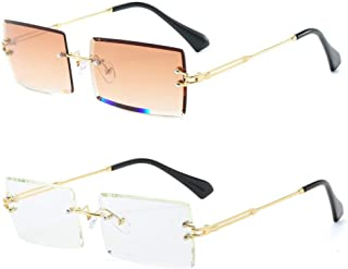 LASPOR 2pcs Rectangle Rimless Sunglasses for Men Women Vintage Retro Square Gold Metal Frameless Glasses Tinted Lens
